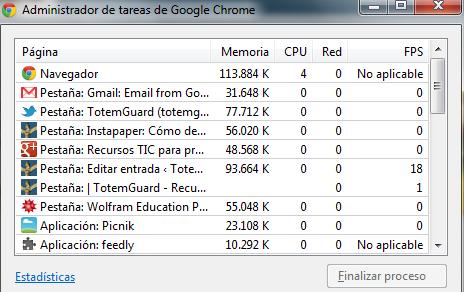 Trucos: Administrador de tareas GoogleChrome